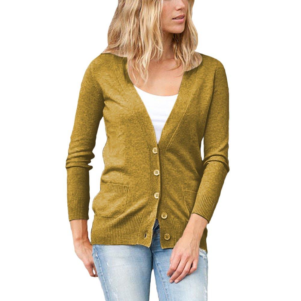 Parisbonbon Women's 100% Cashmere Low Neck Cardigan Color Goldenrod Size S