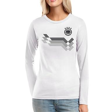 df493f3186be Shirtgeil Deutschland Fußball Trikot für Frauen zur WM Fanartikel Frauen  Langarm-T-Shirt  Amazon.de  Bekleidung