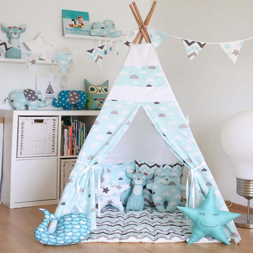 Free Love @ブルークラウドKids Play Tentインドティーピー子供Playhouse Children Play部屋Teepee withクッション B01H32R6Y0