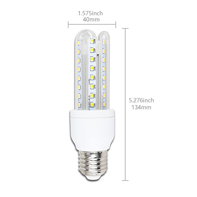 Aigostar - Pack de 10 Bombillas LED B5 T3 3U, 9W, casquillo gordo E27, luz blanca 6400K[Clase de eficiencia energética A+]: Amazon.es: Bricolaje y ...