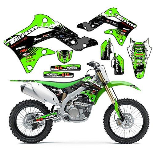 (Team Racing Graphics kit compatible with Kawasaki 1996-1998 KX 125/250, SCATTER)