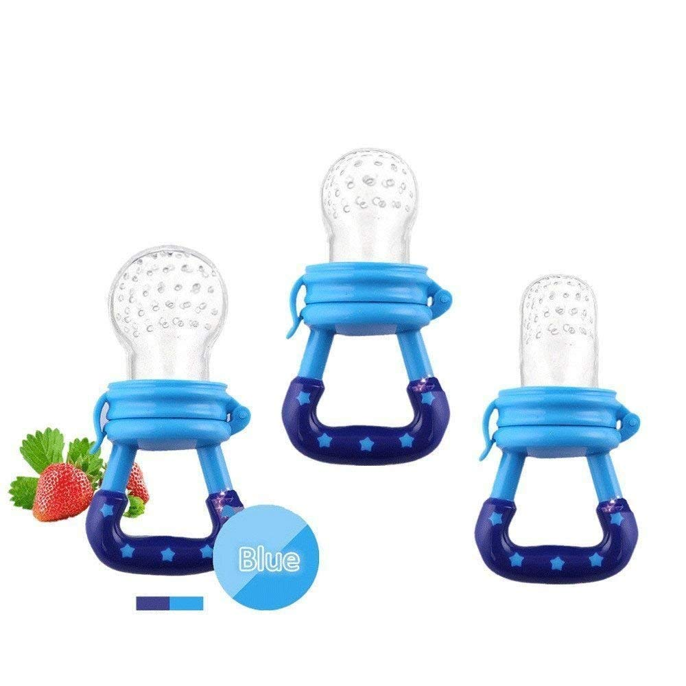 Jallysia Baby Food Feeder 3 Pack Fruit Food Silicone Nipple Teething Toy Reusable Aching Gums Pacifier,Blue