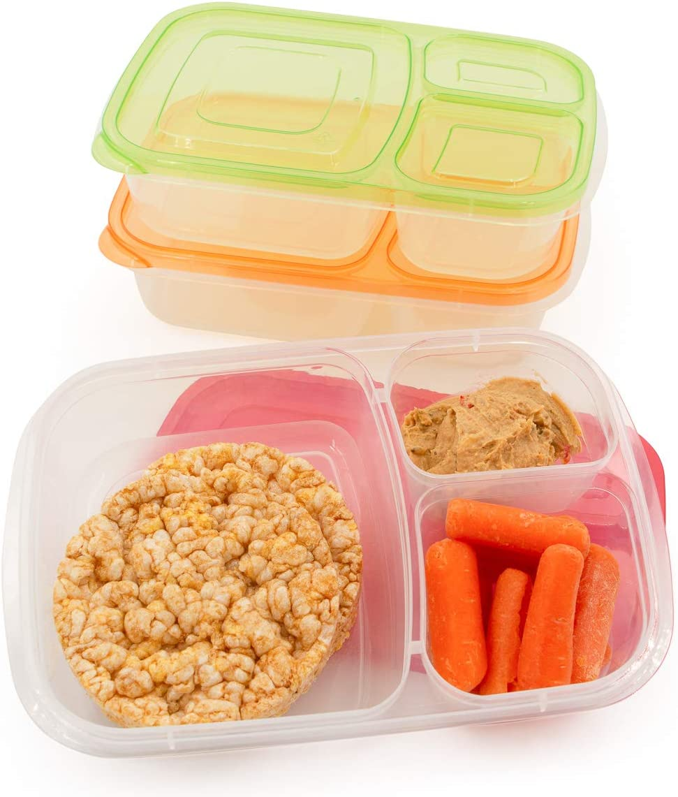 California Basics 3 Compartment Reusable Food Storage Containers for Kids and Adults, Microwave, Dishwasher Safe, Multi-Colored, Set of 3