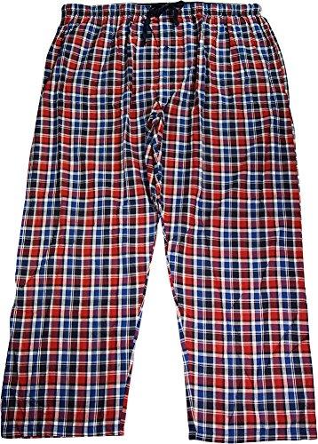 Hanes Mens Cotton Blend Woven Plaid Sleep Pajama Pant, Red, Blue ()