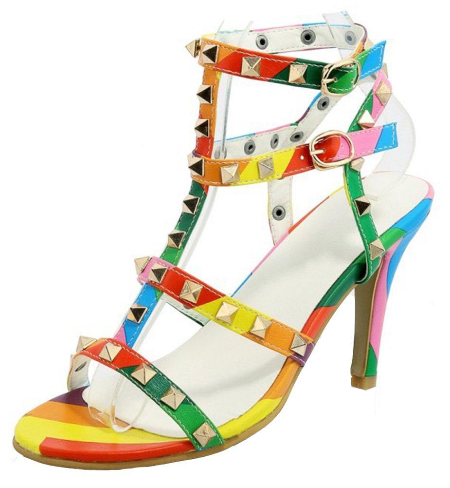 Mofri Women's Stylish Studded Rivets Buckle Strap Stiletto High Heels Gladiators Sandals Multicolored 7.5 B(M) US