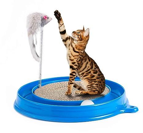 Petony Juguete rascador para Gatos, Juguete Turbo Redondo con una Bola y un ratón de
