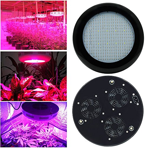 LVJING® 3rd Generation 300W UFO Led Grow Light Panel Full Spectrum, 277LED, with UV / IR Lamp, 5730SMD, for Indoor Plants Garden Greenhouse Hydroponic Growing (Black)