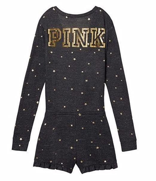 e2c01141156 Image Unavailable. Image not available for. Color  Victoria s Secret Pink  Gold Star Thermal Short Romper Pajama Large