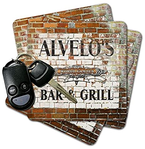 Amazon com | ALVELO'S Bar & Grill Brick Wall Coasters - Set