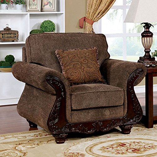 Chair Margarita - Margarita Brown/Dark Cherry Fabric Chair by Furniture of America