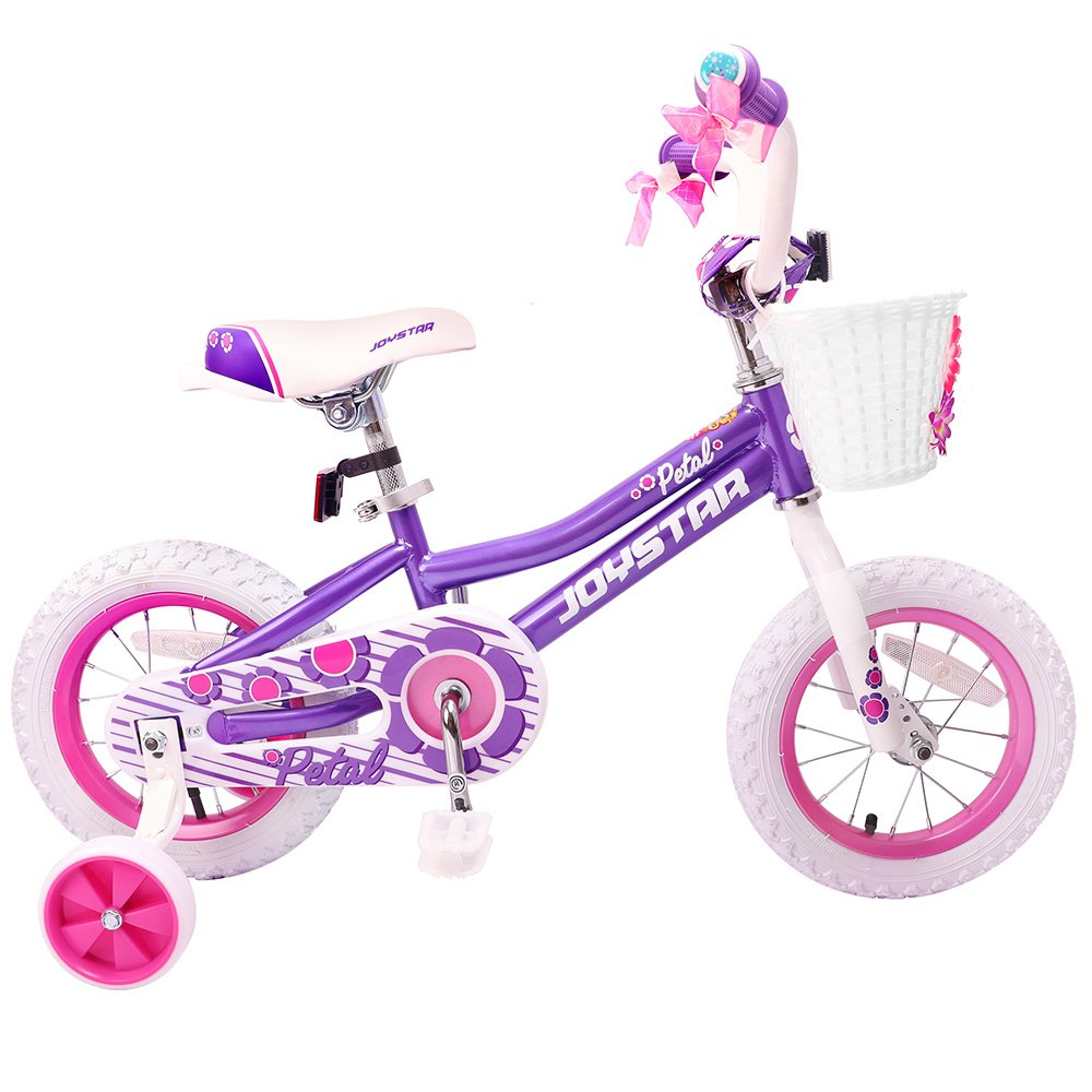 JOYSTAR 12 Inch Purple Kids Bike for Girls 2-4 Years with Training Wheels & Basket & Bike Streamers, 12 inch