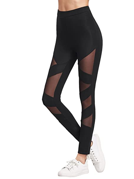 e39c13b778c97 SweatyRocks Women's Mesh Stretchy Leggings Sports Workout Yoga Active  Tights Black XS