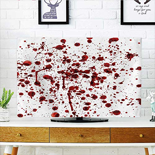 Auraisehome Front Flip Top of Blood Grunge Style Bloodstain Horror Scary Zombie Halloween Themed Print Red White Front Flip Top W36 x H60 INCH/TV 65