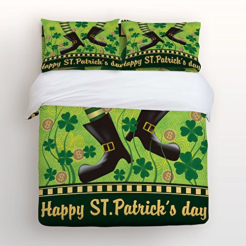 - Crystal Emotion 4 Piece Duvet Cover Set Bedspread for Childrens/Kids/Teens/Adults,Custom Shamrock Leaves and Elf for St. Patrick's Day,King Size