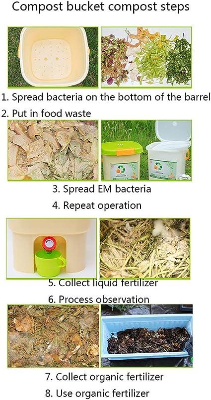 Gardening Tools Cubo de compostaje de Cocina Interior, Contenedores de Reciclaje de residuos domésticos con Tapa, Fermentador de plástico con Grifo, Fertilizante orgánico nutricional casero ZDDAB: Amazon.es: Hogar
