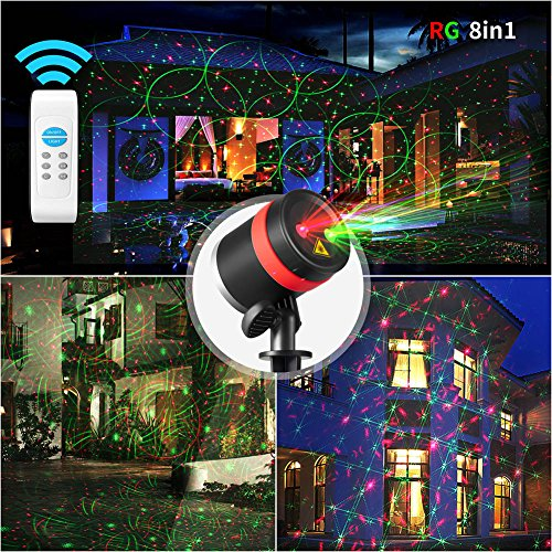 Christmas Laser Lights Show Red and Green 8 Patterns Waterproof Outdoor Laser Projector Light with Remote Control for Christmas, Holiday, Party, Landscape, and Garden -
