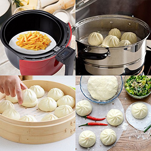 200pcs Air Fryer Liners - 9 Inch Non-stick Perforated Parchment Steamer Paper Liners for Bamboo Steamer, Steamer Basket, 5.3QT Air Fryers by Licok (Image #5)'