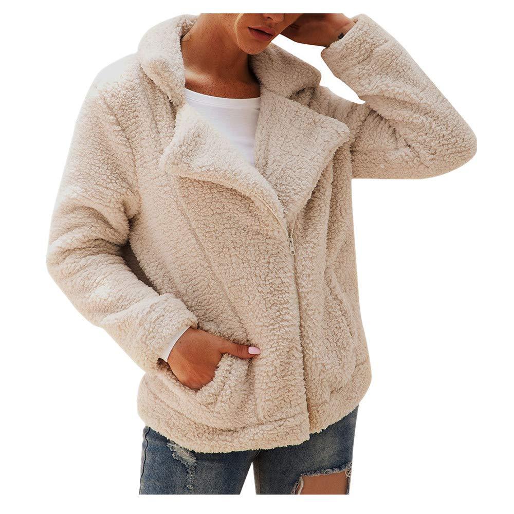 OFEFAN Womens Lapel Zip Up Faux Fur Shearling Fuzzy Fleece Jacket Teddy Bear Coat Warm Outwear with Pockets