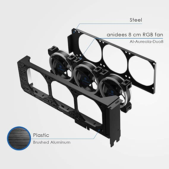 Anidees Graphics Card Cooler With 3 X 80mm Pwm Fans Computers Accessories