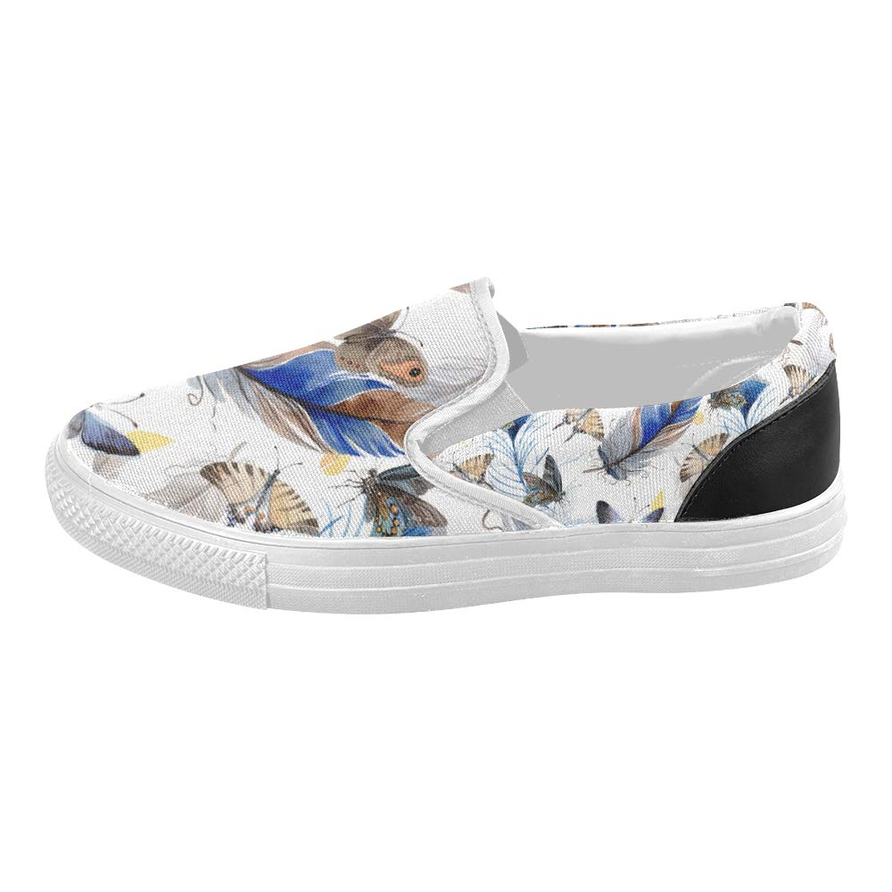 Canvas Slip On Shoes Men Bird Feather Wing Pattern Aquarelle Canvas Slip-on Casual Printing Comfortable Low Top Vintage Canvas Shoes for Women