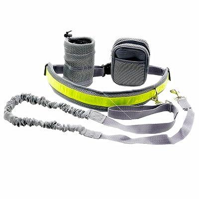 4 En 1 Chien Laisse Mains-libres Elastique avec Ceinture Sac Taille et Poche à Bouteille d'Eau pour Jogging - Gris
