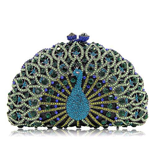 Women Diamonds Peacock Clutches Banquet Glitter Luxury Bag Crystal Clutch For Evening Green Purse qxtzCSwFC