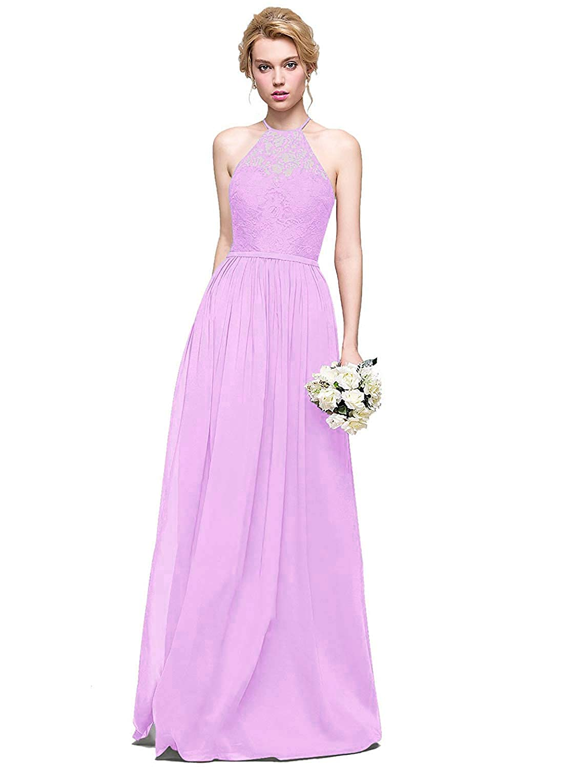 Lavender Halter Lace Sweetheart Neck Bridesmaid Dresses Long Prom Evening Gown