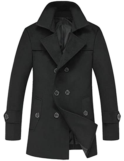 df3725a868e6 Mens Double-Breasted Jackets Wool Classic Pea Coat Winter Coat: Amazon.co.uk:  Clothing