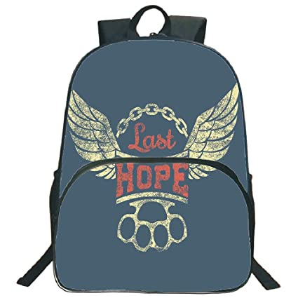 "1e4ceaada Vintage 3D Print 16"" Backpacks,Grunge Label Wings Chain Brass Knuckles  Last Hope Quote"