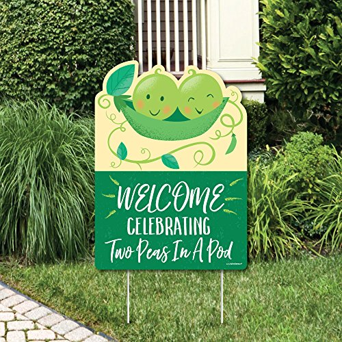 Big Dot of Happiness Double The Fun - Twins Two Peas in a Pod - Party Decorations - Baby Shower or First Birthday Party Welcome Yard Sign ()