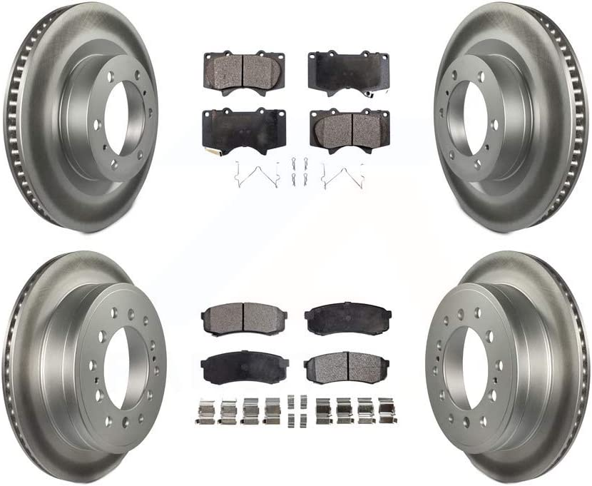 Front Rear Coated Disc Brake Rotors And Ceramic Pads Kit For Toyota 4Runner Lexus GX460
