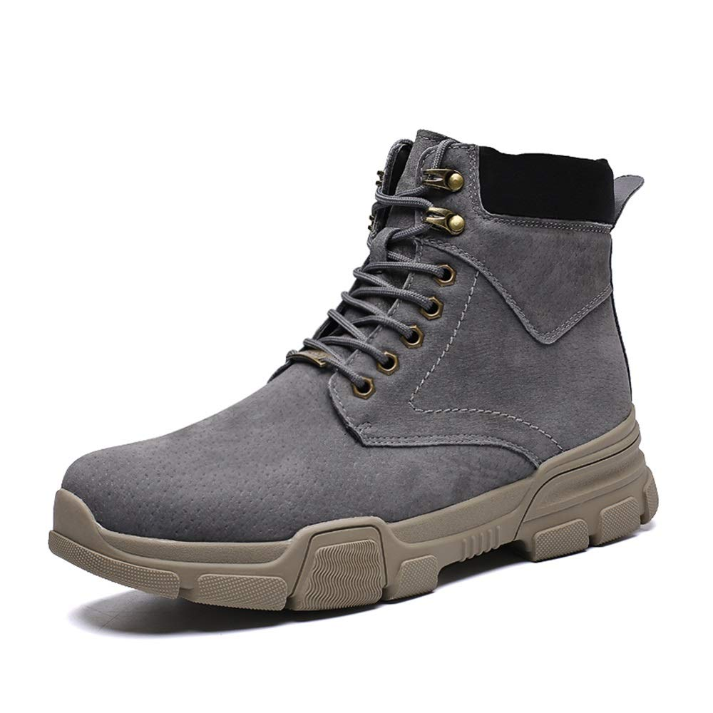 Ankle Boots gobling Men's Fashion Ankle Boots Casual High-top Lace Up Outdoor Big Size Work Boots (Color : Gray, Size : 7 D(M) US)