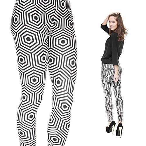 Hanessa Frauen Leggins Bedruckte Leggings Hose Frühling Sommer Kleidung Optische Täuschung Schwarz Weiß L117