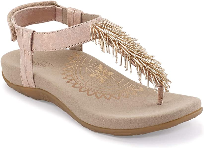 4c6b8b0eb420 Aetrex Womens Portia Fringe Slingback Orthotic Thong Sandals - Blush - 39  (US 8.5)