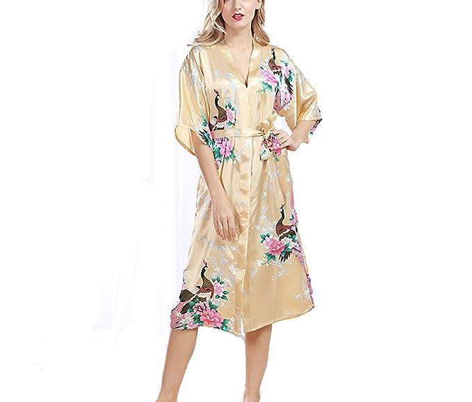 TieNew 2018 Albornoz Mujer Corto Kimono Batas Baño,Camison mujer corto Lencería Satén Casa Cama Fiesta: Amazon.es: Ropa y accesorios