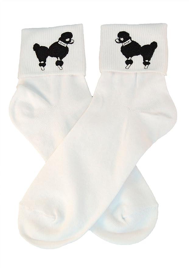 1950s Socks- Women's Bobby Socks Hip Hop 50s Shop Womens Bobby Sock W/Poodle Applique $9.84 AT vintagedancer.com
