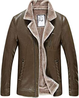 ACVXZ Giacca in Pelle da Uomo Outdoor Warm Winter Coat Coat da Sci (Colore : Brown, Dimensioni : XXXL)