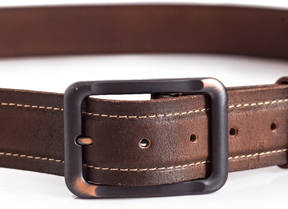 Mens Brown Retro Leather Belt Casual Everyday Wear Stitching Detail 1.5in Width