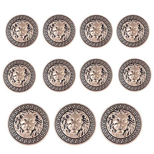 Vintage Gold Button (11 Pieces Gold Vintage Antique Metal Blazer Button Set - 3D Lion Head - For Blazer, Suits, Sport Coat, Uniform, Jacket)