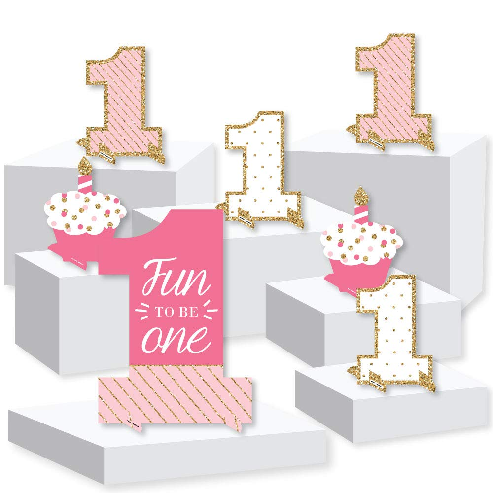 1st Birthday Girl - Fun to be One - First Birthday Party Centerpiece and Buffet Table Decor - Tabletop Standups - Set of 7