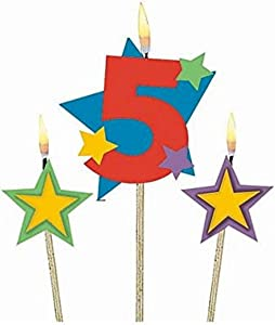 Amscan #5 Decorative Birthday Candle & Star Candles | Party Supply | 3 pieces
