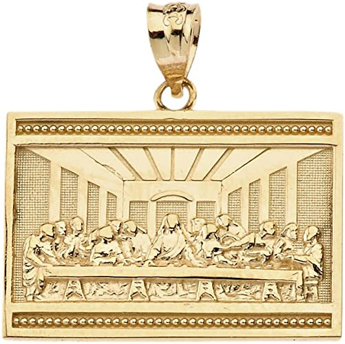 10K Yellow Gold Last Supper Jesus Charm Pendant With 2mm Rope Chain Necklace Set