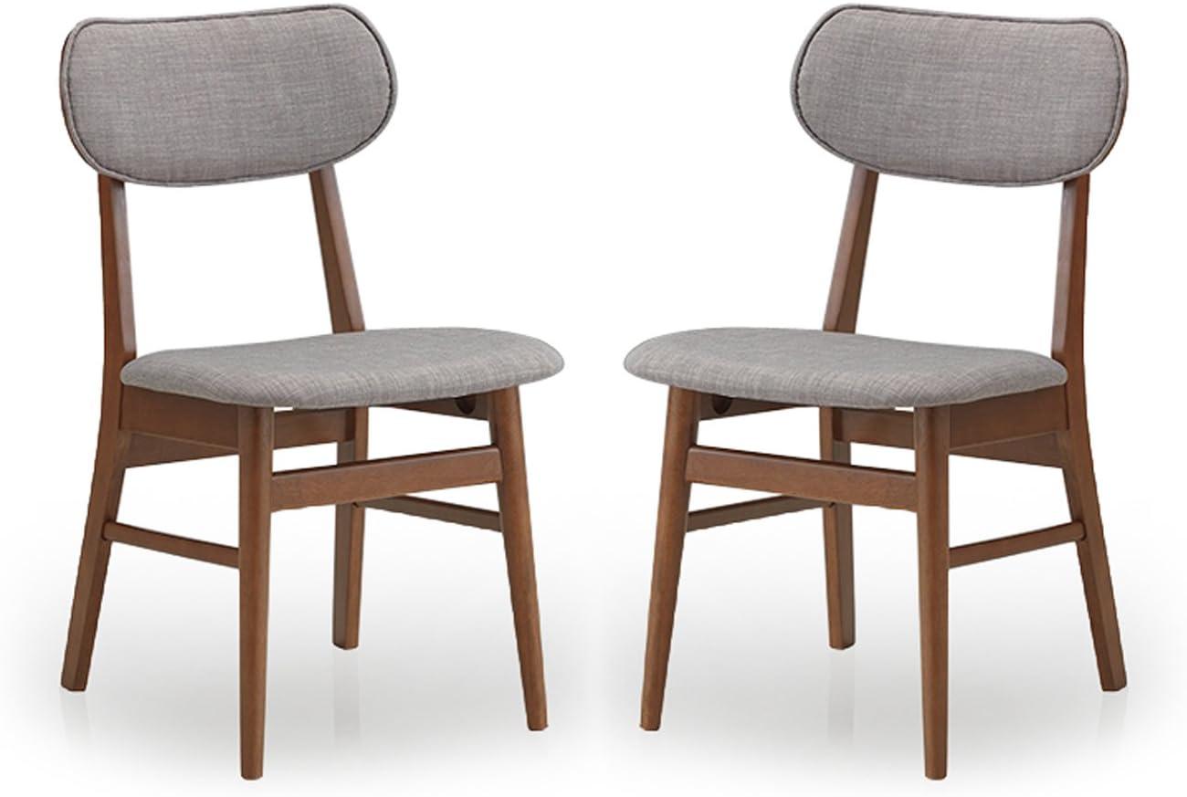 Baxton Studio Sacramento Mid Century Dark Walnut Wood And Grey Faux Leather Dining Chairs Set Of 2 Amazon Co Uk Kitchen Home