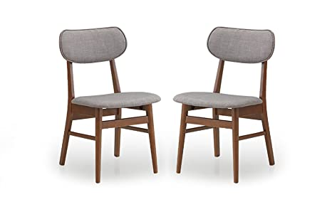 Baxton Studio Sacramento Mid-Century Dark Walnut Wood and Grey Faux Leather  Dining Chairs (Set of 2)