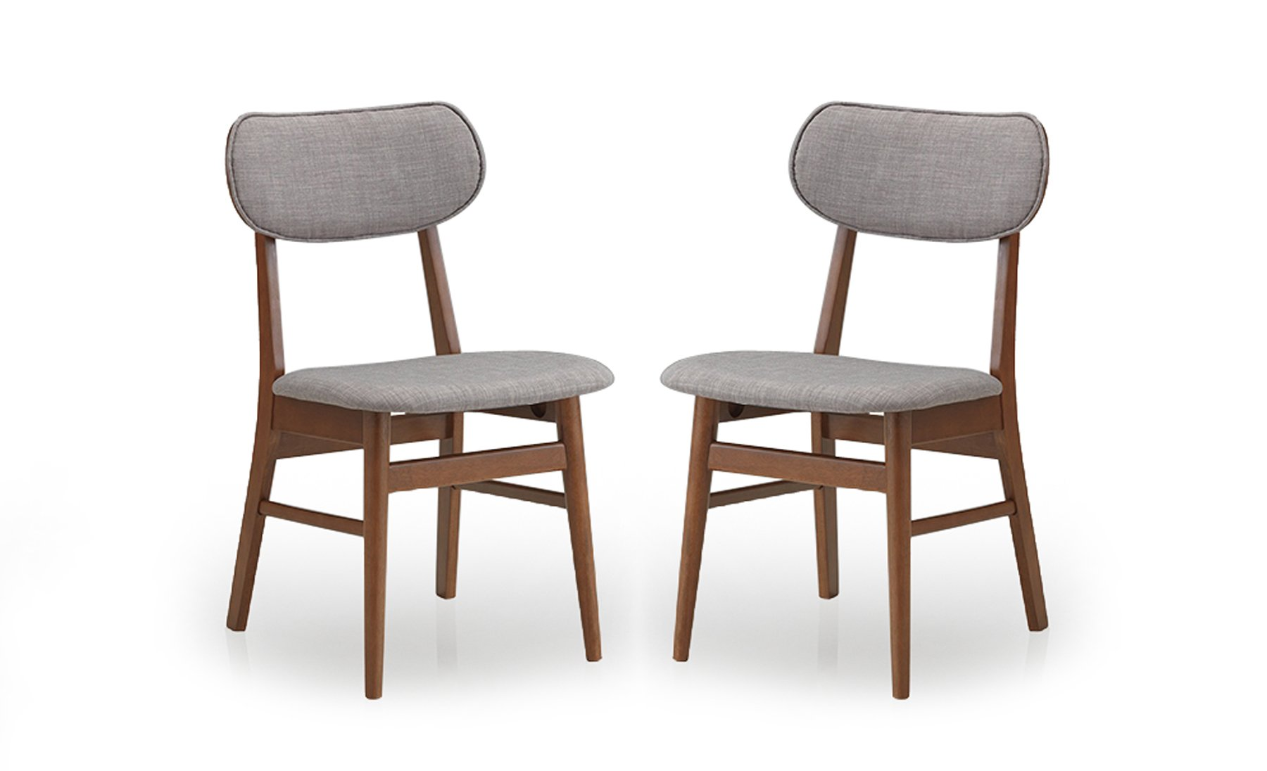 Baxton Studio Sacramento Mid-Century Dark Walnut Wood and Grey Faux Leather Dining Chairs (Set of 2) - Mid-Century design set of 2 dining chairs Solid rubber wood with veneer finishing Grey fabric upholstery with foam padding - kitchen-dining-room-furniture, kitchen-dining-room, kitchen-dining-room-chairs - 61ySZS%2BndAL -