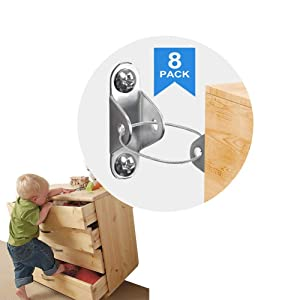 Metal Baby Proofing Furniture Anchors, YesTree Furniture Strap(8 Pack) for Baby Proofing, Wall Anchor Anti Tip Furniture Kit Wall Straps for Baby Safety, Adjustable Upgraded Earthquake Resistant