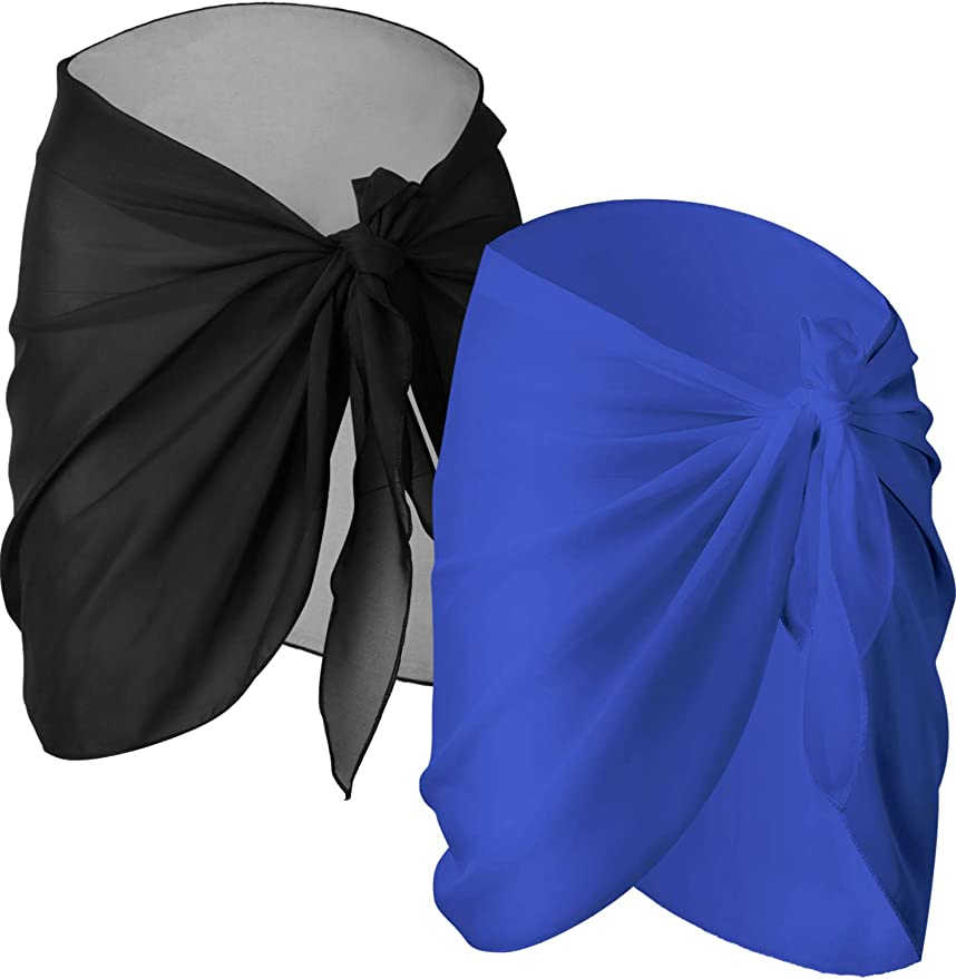 Chuangdi 2 Pieces Women Beach Wrap Sarong Cover Up Chiffon Swimsuit Wrap Skirts   Amazon