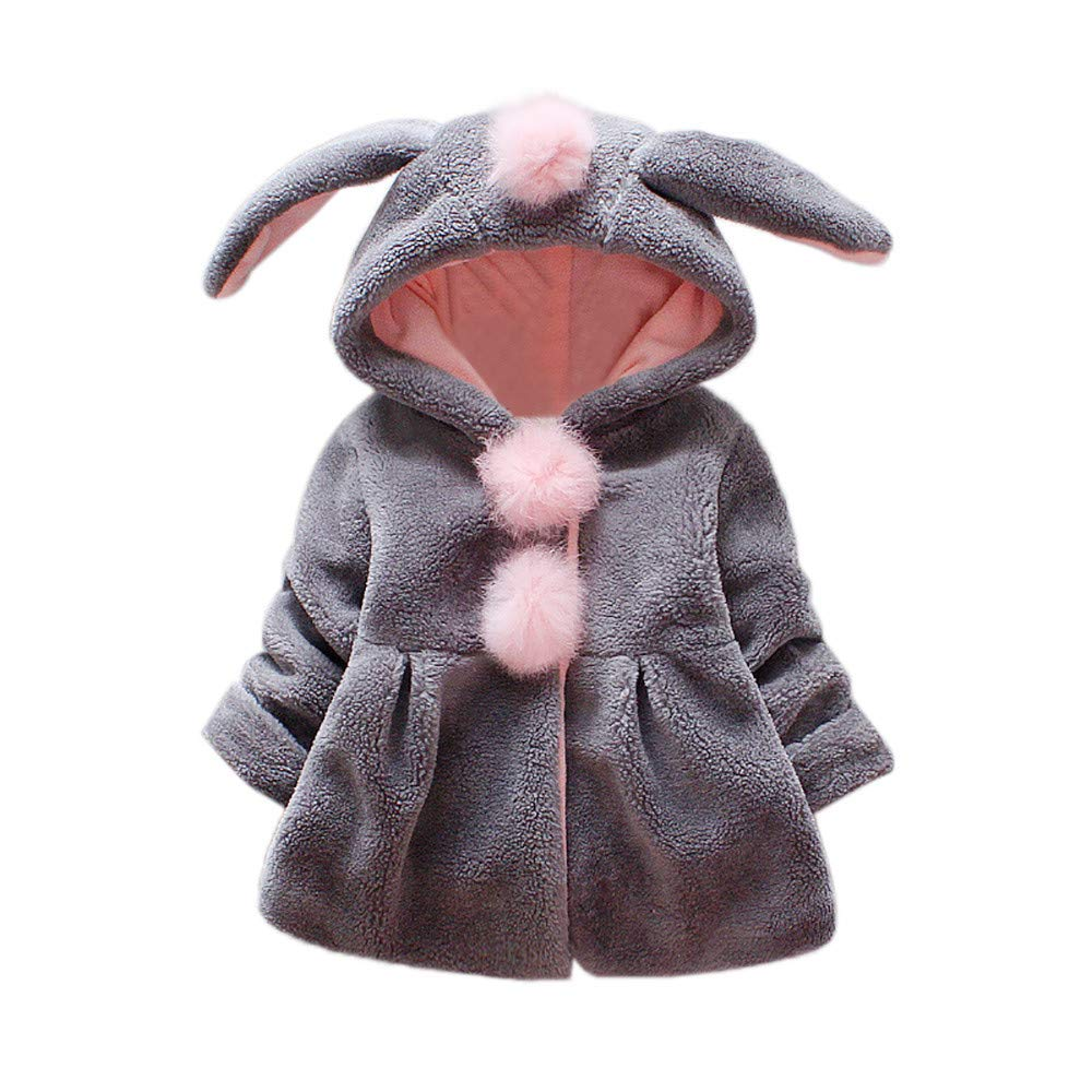 sunnymi Children Kids Girls Rabbit Ears Thickening Plus Velvet Hooded Keep Warm Coat Jacket Clothes