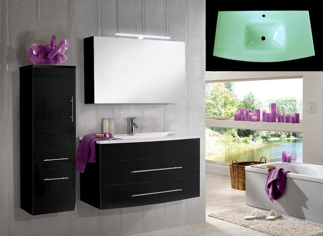 SAM® Design Badmöbel-Set Zürich Deluxe, 100 cm, in Hochglanz schwarz, 3tlg. Designer Badezimmer mit Softclose-Funktion, 1 Waschplatz mit Milchglasbecken grün, 1 Spiegelschrank Deluxe und 1 Hochschrank