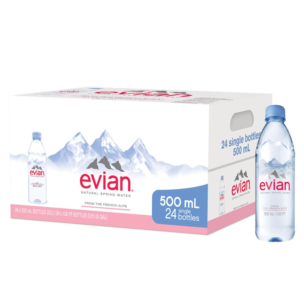 evian Natural Spring Water, One Case of 24 Individual 500 ml (16.9 oz.) Bottles of Naturally Filtered Spring Water